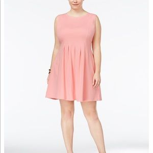 2x pink pleated a-line dress Nwot